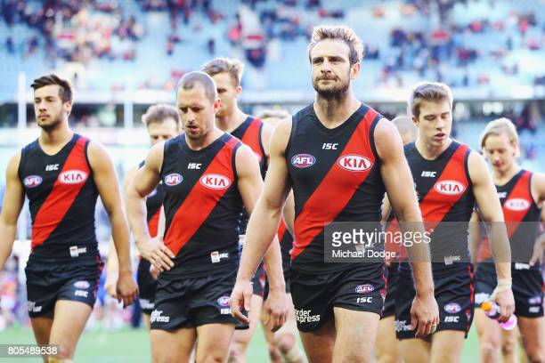 Jobe Watson of the Bombers looks dejected after defeat during the round 15 AFL match between the Essendon Bombers and the Brisbane Lions at Etihad...