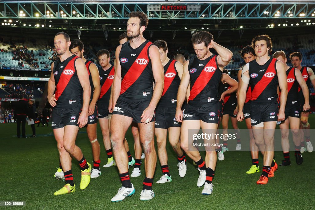 Jobe Watson of the Bombers looks dejected after defeat during the round 15 AFL match between the Essendon Bombers and the Brisbane Lions at Etihad Stadium on July 2, 2017 in Melbourne, Australia.