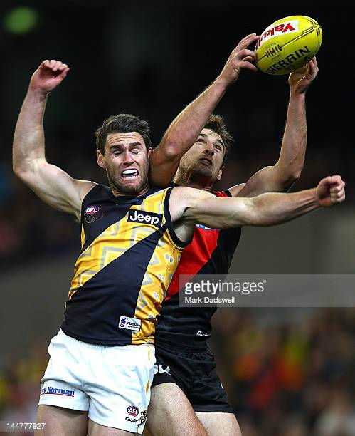 Jobe Watson of the Bombers marks under pressure from Chris Newman of the Tigers during the round eight AFL match between the Essendon Bombers and the...
