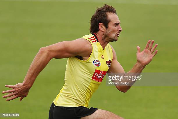 Jobe Watson of the Bombers sprints during an Essendon Bombers AFL preseason training session at True Value Solar Centre on January 8 2016 in...