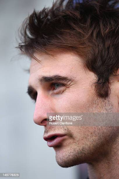 Jobe Watson of the Bombers talks to the media during an Essendon Bombers AFL media announcement at Windy Hill on June 6 2012 in Melbourne Australia