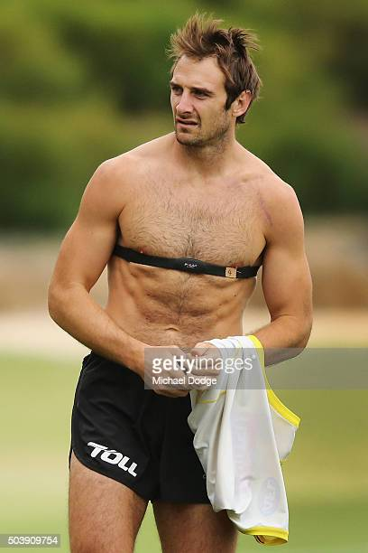 Jobe Watson of the Bombers working back from injury shows off a trim body during an Essendon Bombers AFL preseason training session at True Value...