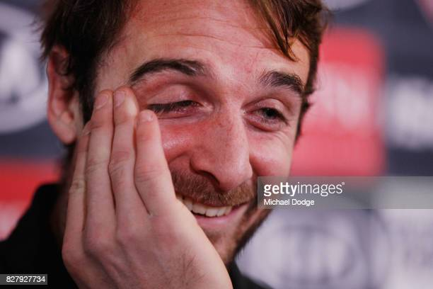 Jobe Watson reacts as he speaks to the media announcing his retirement at the Essendon Football Club on August 9 2017 in Melbourne Australia