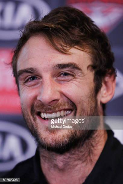 Jobe Watson speaks to the media announcing his retirement at the Essendon Football Club on August 9 2017 in Melbourne Australia
