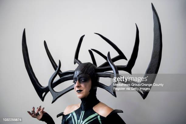 Jobeth Wagner of Pasadena dressed as Hela from Thor Ragnarok poses for a photo during day two of ComicCon International at the San Diego Convention...
