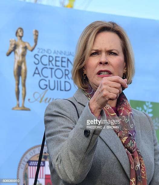 JoBeth WilliamsPresident of the SAGAFTA Foundation Board and Chair SAG Awards Committee gestures while attending a Tree Planting Ceremony and...