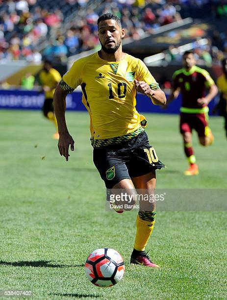 Jobi McAnuff of Jamaica moves the ball up the field against the Venezuela during a group C match between Jamaica and Venezuela at Soldier Field...