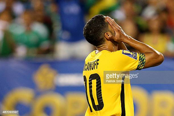 Jobi McAnuff of Jamaica reacts after missing a shot against Mexico in the first half during the CONCACAF Gold Cup Final at Lincoln Financial Field on...
