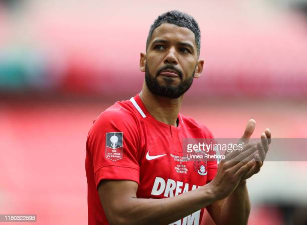 Jobi Mcanuff of Leyton Orient acknowledges their fans at the end of the FA Trophy Final match between Leyton Orient and AFC Fylde at Wembley Stadium...