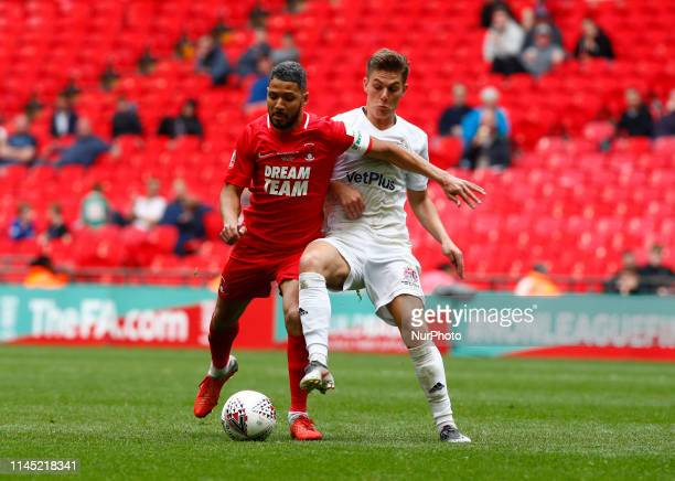 LR Jobi McAnuff of Leyton Orient and Nick Haughton of AFC Fylde during Bulidbase FA Trophy Final match between AFC Fylde and Leyton Orient at Wembley...