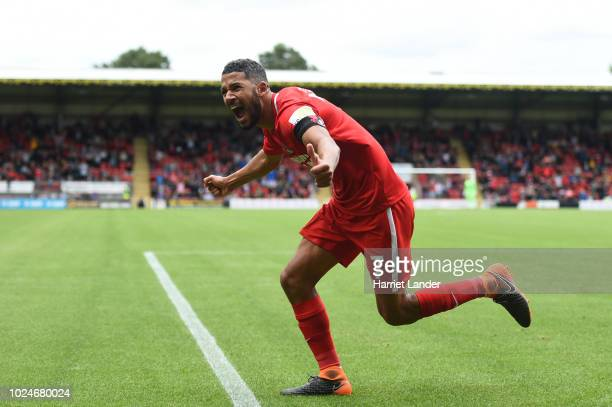Jobi McAnuff of Leyton Orient celebrates after scoring his team's first goal during the Vanarama National League match between Leyton Orient and...