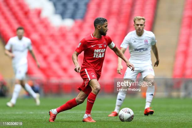 Jobi Mcanuff of Leyton Orient control the ball past Ryan Croasdale of AFC Flyde during the FA Trophy Final match between Leyton Orient and AFC Fylde...