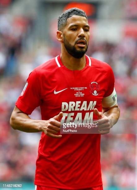 Jobi McAnuff of Leyton Orient during Bulidbase FA Trophy Final match between AFC Fylde and Leyton Orient at Wembley stadium London on 19 May 2019