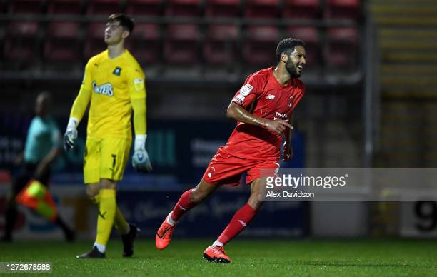 Jobi McAnuff of Leyton Orient reacts after chipping Michael Cooper of Plymouth Argyle to score his sides second goal during the Carabao Cup Second...