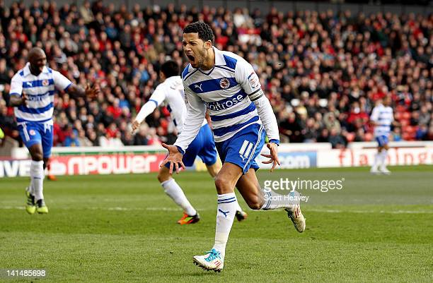 Jobi McAnuff of Reading celebrates after scoring their first goal during the npower Championship match between Barnsley and Reading at Oakwell...