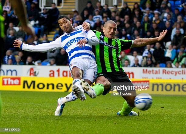 Jobi McAnuff of Reading scores the opening goal of the game during the npower Championship match between Reading and Brighton and Hove Albion at The...