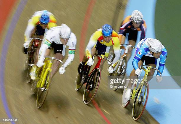 Jobie Dajka of Australia in action in the Men's Keirin during the UCI Track Cycling World Cup meeting at Manchester Velodrome on January 9, 2005 in...