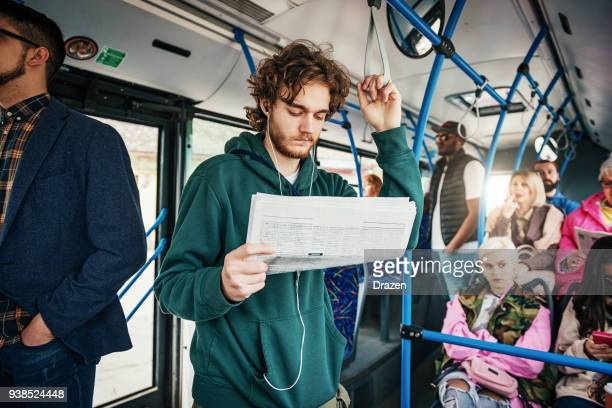 Jobless student traveling by bus