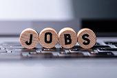 Jobs Text On Wooden Blocks Over Keyboard