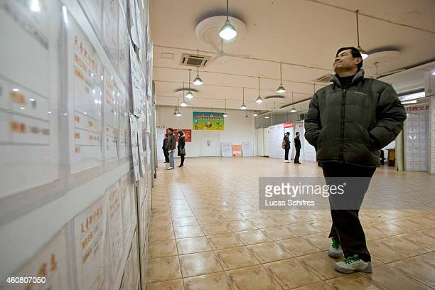A jobseeker looks at employment ads on billboards in Tiantian job fair on February 17 2009 in Shanghai China A survey conducted by the China Economic...
