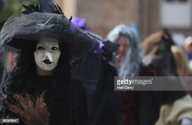 Jobseekers arrive to be auditioned for the role of a resident witch at Wookey Hole Caves on July 28 2009 in Wells England The Somerset tourist...