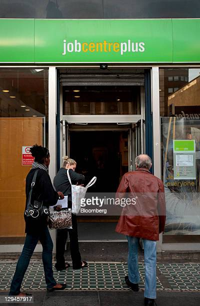Jobseekers enter an employment center in south London UK on Monday Oct 17 2011 UK GDP grew just 01 percent in the second quarter and data on Oct 12...