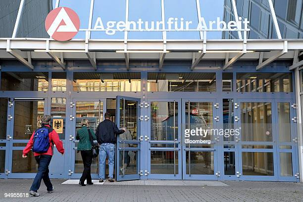 Jobseekers enter the Federal Office of Employment in Nuremberg, Germany, on Monday, Sept. 28, 2009. The German government releases its unemployment...