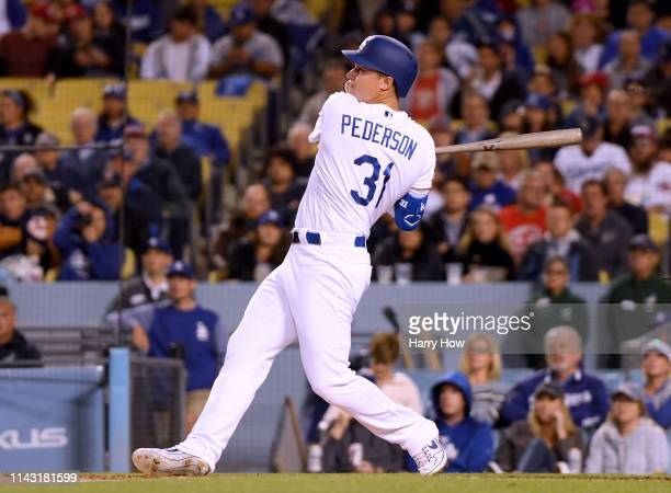 Joc Pederson of the Los Angeles Dodgers hits a two run homerun to take a 30 lead over the Cincinnati Reds during the second inning at Dodger Stadium...