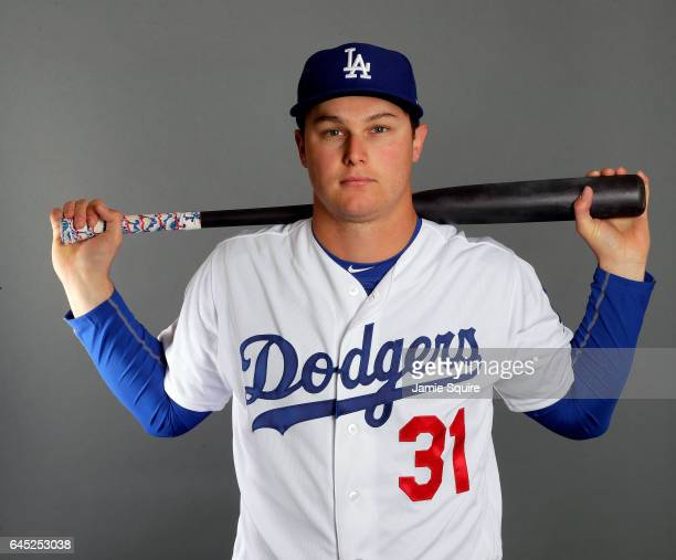Joc Pederson of the Los Angeles Dodgers poses on Los Angeles Dodgers Photo Day during Sprint Training on February 24 2017 in Glendale Arizona
