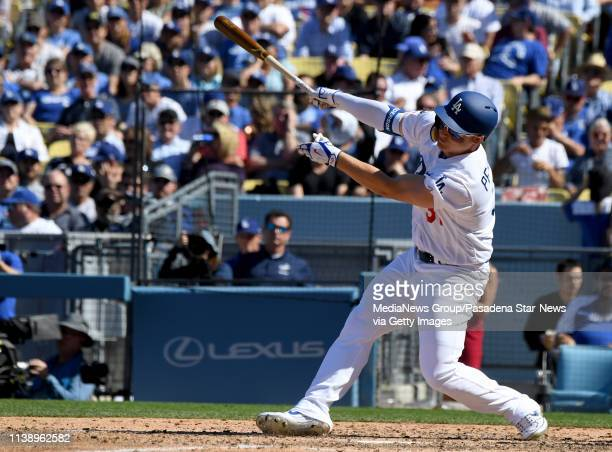 Joc Pederson of the Los Angeles Dodgers watches his two run home run against the Arizona Diamondbacks in the fourth inning of a MLB baseball game...
