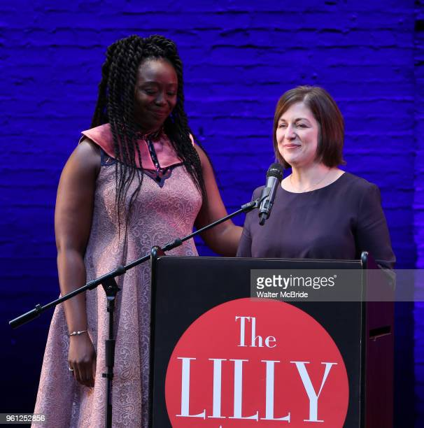 Jocelyn Bioh and Mandy Greenfield on stage during the 9th Annual LILLY Awards at the Minetta Lane Theatre on May 212018 in New York City