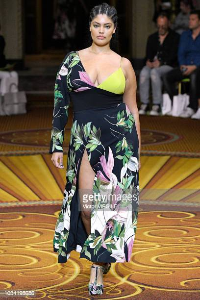 Jocelyn Corona walks the runway at the Christian Siriano Spring/Summer 2019 fashion show during New York Fashion Week on September 8 2018 in New York...