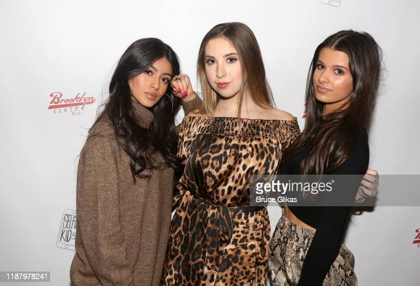Jocelyn Delgado Carrie Berk and Gianna Ferazi pose during a launch event promoting Selfie Kid X Brooklyn Cloth Limited Edition TShirt Collaboration...