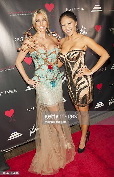 Jocelyn Elizabeth and Caya Ukkas Hefner attend Caroline Burt DJs At Victoria Fuller's The Beauty Code Art Show at The Redbury Hotel on February 25...
