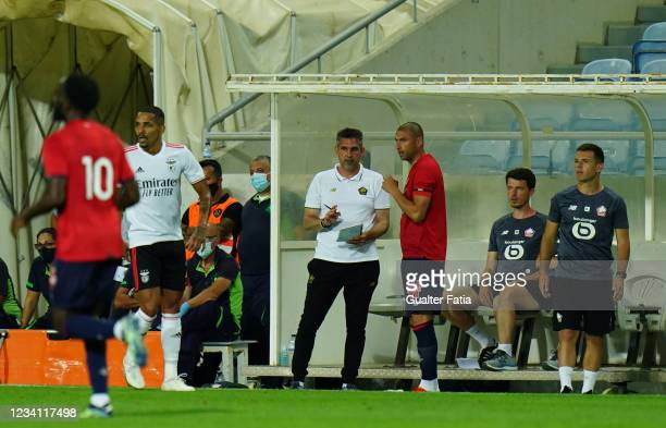 Jocelyn Gourvennec of LOSC Lille with Burak Yilmaz of LOSC Lille during the Pre-Season Friendly match between SL Benfica and Lille at Estadio Algarve...
