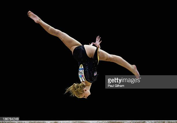 Jocelyn Hunt of Great Britain in action on the balance beam during the Women's Artistic Gymnastics Olympic Qualification round at North Greenwich...