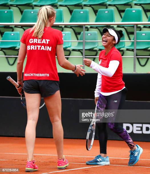 Jocelyn Rae and Heather Watson during a Great Britain Fed Cup training session at Tenis Club IDU on April 19 2017 in Constanta Romania