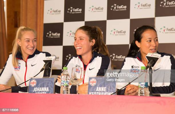 Jocelyn Rae Johanna Konta and Anne Keothavong speak following a Great Britain Fed Cup training session at Tenis Club IDU on April 21 2017 in...