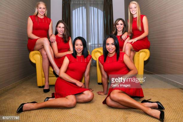 Jocelyn Rae Johanna Konta Anne Keothavong Hather Watson Katie Swan and Laura Robson pose for photos following a Great Britain Fed Cup training...