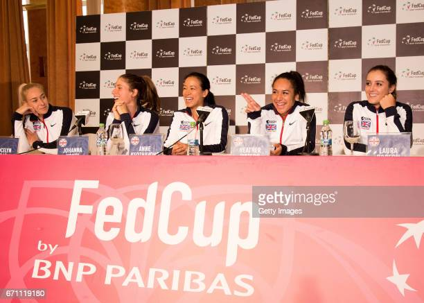 Jocelyn Rae Johanna Konta Anne Keothavong Heather Wartson and Laura Robson speak following a Great Britain Fed Cup training session at Tenis Club IDU...