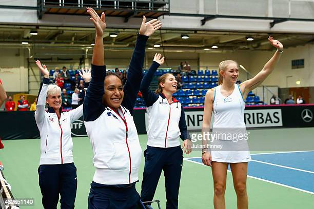 Jocelyn Rae Johanna Konta Heather Watson and Captain Judy Murray thank the support after advancing to the next match during day three of the Fed...
