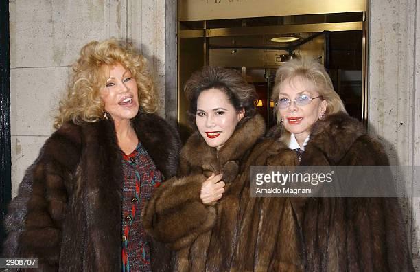 Jocelyn Wildenstein Mrs Sukarno and Mrs Maltese leave Harry Cipriani Restaurant January 17 2004 in New York City