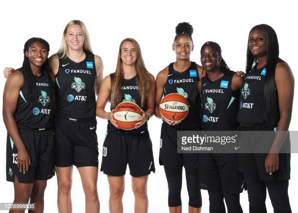 Jocelyn Willoughby, Kylee Shook, Sabrina Ionescu, Leaonna Odom, Jazmine Jones and Joyner Holmes of the New York Liberty pose for a portrait during...