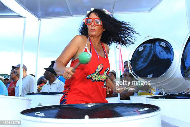 Jocelyne Baillon of Reunion Island performs with Birdsong Steel Orchestra during National Panorama Semi-Finals in the Queens Park Savannah as part of...