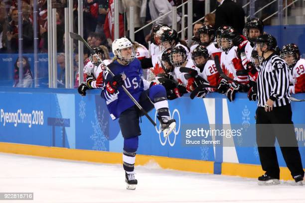 Jocelyne Lamoureux of the United States celebrates after scoring a goal in the overtime penaltyshot shootout against Canada during the Women's Gold...