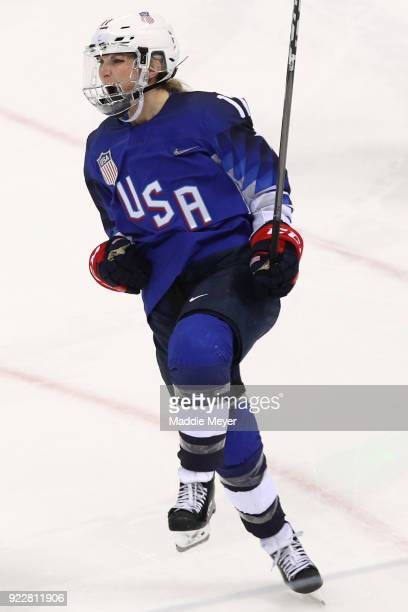 Jocelyne Lamoureux of the United States celebrates after she scores a goal against Shannon Szabados of Canada in a shootout to win the Women's Gold...