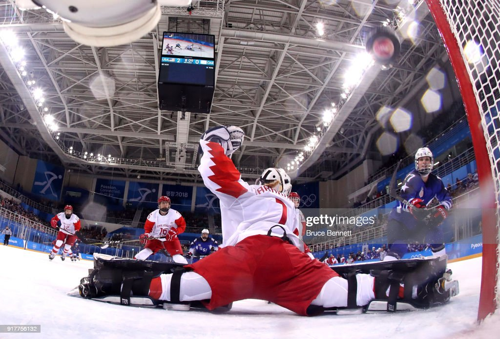 Jocelyne Lamoureux #17 of the United States scores a goal in the second period against Olympic Athletes from Russia during the Women's Ice Hockey Preliminary Round - Group A game on day four of the PyeongChang 2018 Winter Olympic Games at Kwandong Hockey Centre on February 13, 2018 in Gangneung, South Korea.