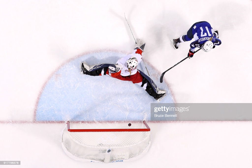 Jocelyne Lamoureux #17 of the United States scores a goal in the second period against Valeria Tarakanova #1 of Olympic Athlete from Russia during the Women's Ice Hockey Preliminary Round - Group A game on day four of the PyeongChang 2018 Winter Olympic Games at Kwandong Hockey Centre on February 13, 2018 in Gangneung, South Korea.