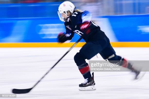 Jocelyne Lamoureux skates in the women's ice hockey semifinal game between the United States and Finland during the Pyeongchang 2018 Winter Olympic...
