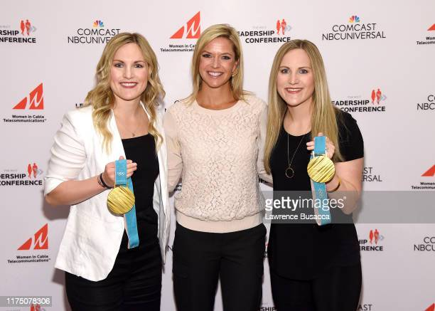 Jocelyne Lamoureux-Davidson, Kathryn Tappen, and Monique Lamoureux-Morando attend WICT Leadership Conference And Touchstones Luncheon at The New York...